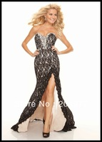 2013 Newest Sexy  Side Slit Hem Black Lace Prom Dress 93052