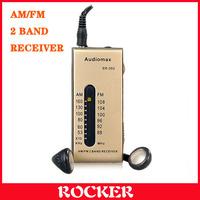 Free Shipping+Audiomax SR-202 FM/AM Radio,Portable mini 2 Band radio(Coffee)