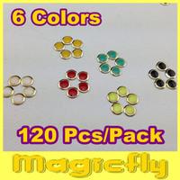 [SP-1001]Wholesale 120pcs/lot 6 Mix Colors(Each color 20 pcs) Round Perfect For DIY 3D Metal Nail Art Decorations, Metallic Nail