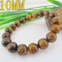 10MM Natural Tiger Eye Stones Beaded Bracelet Bangles Vintage Style 076