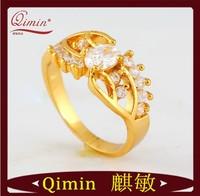 2014 Fashion Jewelry 24K Gold Filled Square Punk Ring Men 4 Multi Sizes Fashion Rings Free Shipping