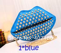 fre shipping  day evening bag clutch rivet shiny lip bag Handbag shoulder bag sling purse wallet women's Fashion night club
