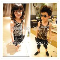 Wholesale 1 lot= 5 pieces 2015 summer all-match Girls leopard Vest print zebra boy Tops Baby Tank Wholesale Lots