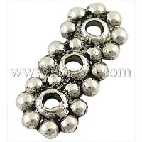 Tibetan Silver Spacer Bars,  Lead Free & Nickel Free & Cadmium Free,  Flower,  Antique Silver,  about 13mm long,  6mm wide