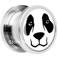 Steel Panda Bear Face Screw Fit Plug tunnel Free shipping 100pcs/lot stainless steel hot sale