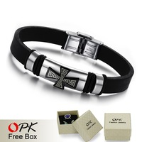 OPK JEWELRY SILICONE and STAINLESS STEEL BRACELET  Cross Black Bracelet, mens religious bracelets free shipping 803