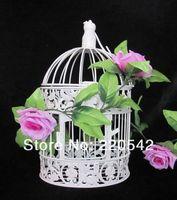 free shipping 1Pcs Decorative Metal White Flower Luxury Hanging Wedding Bird Cage  Birdcage 37.5*19cm  SNL02