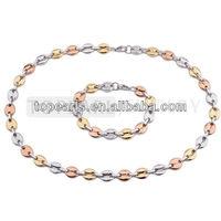 Topearl Jewelry Coffee Beans Necklace & Bracelet 304 Stainless Steel Jewelry SSJ92