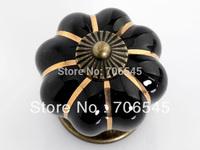 Free shipping,Wholesale 10pcs/lot,40mm Diameter,Black Ceramic Door Cabinets Pumpkins Knobs Handles Pull Drawer Knobs