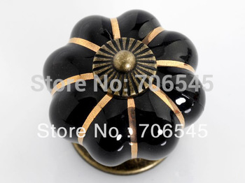 Wholesale Black Kitchen Ceramic Door Cabinets Pumpkins Knobs Handles Pull Drawer