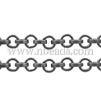 Iron Cross Chains,  Rolo Chains,  Round,  Platinum Color,  Link: 7mm in diameter,  2mm thick