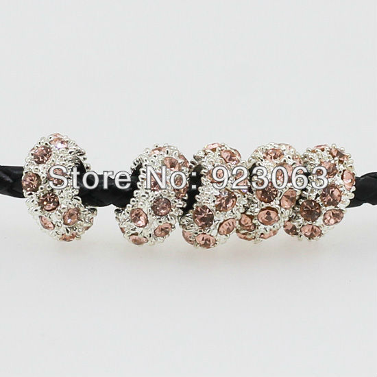 Wholesale 50pcs/lot Light Peach Crystal Rhinestone Rondelle Spacer Big Hole Charm Beads For European Bracelet ,Jewelry Findings(China (Mainland))