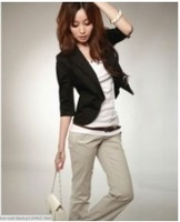 Graceful Pure Color Simple Lapel Coat Black /white O13031412-1 /O13031412