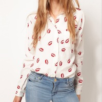 Free shipping 2013 New Fashion Womens' Hot Red Lip Print Chiffon Blouse Quality Elegant Casual T Shirt Slim Brand Design
