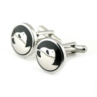 PenSee Perfect Stainless Steel & Black Enamel Cute Panda Cufflinks for Men with Gift Box