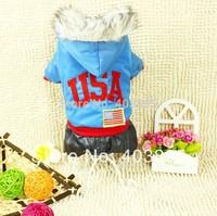 Fashion Winter Dog Jumpsuit Warm Tracksuit Pet Overalls USA Style Pet Dog Clothing,Free Shipping
