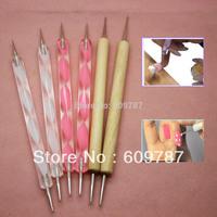free shipping  24PCS  2way Nail Polish Art Dotting Marbleizing Pen Tools