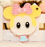 Free shipping DIY Cartoon mirror key chain cell phone stickers drill accessories Big eyes Mickey Mouse phone chain mixed batch