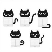 5 Pcs Fashion Cute Creative Switch Stickers Fun Cat Series Bedroom Parlor wall Stickers