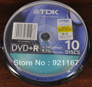 Free shipping,TDK DVD+R High Speed Rewritable, color random delivery,10 CDs - 4.7G/120Min 1-16x Speed,high quality record disk
