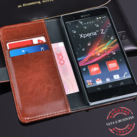 Hot Item Luxury Crazy Horse Leather Case For Sony Xperia Z L36H Top Quality Leather Cover With Stand Free Sreen Protector