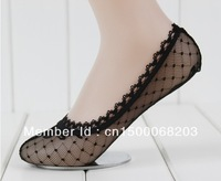 free shipping 2013 fashion women sexy socks slippers ladies invisible socks Jacquard with lace  cotton socks high quality