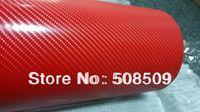 Red 4D carbon fiber vinyl car wrap pvc 1.52x30m (5ft*98ft)air free bubbles Free Shipping