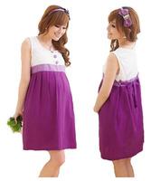 Pregnant women summer clothing maternity dress sleeveless knee-length cotton one-piece dress elegant purple patchwork dresses