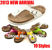 2013 New Arrival! 19 Styles Lovers beach shoes for Women, BOKEN cork slippers, Summer style, Ladies Flip Flops Free shipping