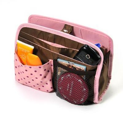 Free Shipping Korea Style Hasp Pink Dot mp3 phone cosmetic storage organizer Polyester bag in bag handbag girl women Hot HK-05(China (Mainland))