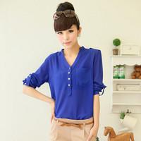 2014 Autumn Fashion Tops Women Elegant Blue OL Long Sleeve Loose Chiffon Blouse