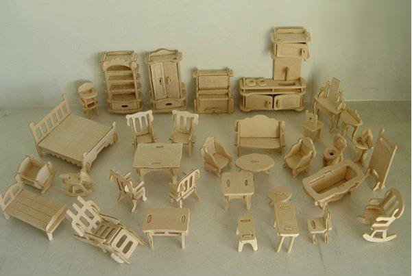 Furniture 3d Puzzle Wooden 3D Jigsaw Model DIY, 1SET=34PCS Scale Models(China (Mainland))
