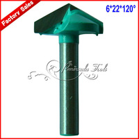 Free shipping 2PCS 6.0 * 22 * 120 degrees V shaped cnc router bits for Wood Engraving /3D Carving