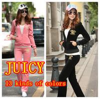 Free Shipping Brand JC Velvet Women's Tracksuits set girls Velours Suits,female Sport Tracksuit,Hoodies Pants suit Autumn/Winter