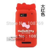 New Arrival Cute Cartoon Bowknot hello kitty Case Cover For Motorola MB525 MB525 defy,1pcs/lot