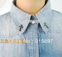 Hot sale Fashion  collar clip brooch cross collar clip female decoration accessories free shipping