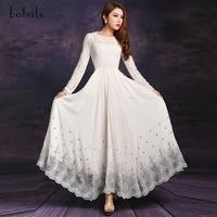 2014 spring fashion women's lace embroidery print dress white maxi dress long sleeve chiffon dress plus size formal lace dress