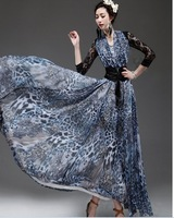2013 spring new long sleeve chiffon one-piece dress long design chiffon leopard print lace maxi dress female ultra long dress