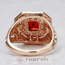 christmas Gift Wedding Bijuterias Rings Jewelry 18K rose Gold Plated Simulated Ruby diamond Ring corrente de