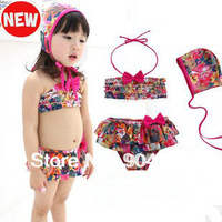 3 Pcs Baby Kid Girl bikinis Multi-layer lace Bow Swimsuit Rose Swimwear with Hat