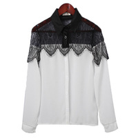 Plus Size S-XXXL 2013 New Hot Sale Womens Casual Leisure Black Lace Chiffon Blouses Splicing Long Sleeve Tops