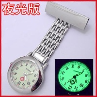Best gift luminous glow in dark metallic silver pin nurse fob watch reloj de enfermera free shipping SOSTB001