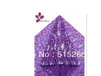 FREE SHIPPING BY DHL! New design African organza lace! Wholesale price! 5yards/piece,big hand cut organza TKL1984,purple