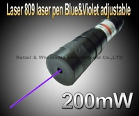 Laser 809 High power Blue laser pointer 200mw adjustable laser pen bue&violet laser pointer