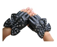 2013 Fashion Style Lovely Bow Women's Rivet short Leather Gloves FREE SHIPING