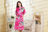2013  woman silk  kimono robes,Plus Size nightwear S M L XL XXL XXXL Free shipping , MOQ 1pc