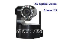 3X Optical Zoom IR Alarm Wireless IP Camera with WIFI 3G Motion Detector CMOS 300K Pixels