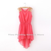 Free Shipping Wholesale 5pcs/lot Fashion Sexy Summer Women Paillette Shoulder Chiffon One-piece Dress Lady Tank Dress 6 Colors