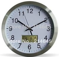 12 inches sitting room calendar clock silent movement contracted mute quartz wall clock