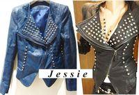 2013 New Women Zipper Black Blue Punk Handmade Strong Spike Rivet Stand Shoulder Pu Leather Jacket Coat Autumn Spring Outerwear